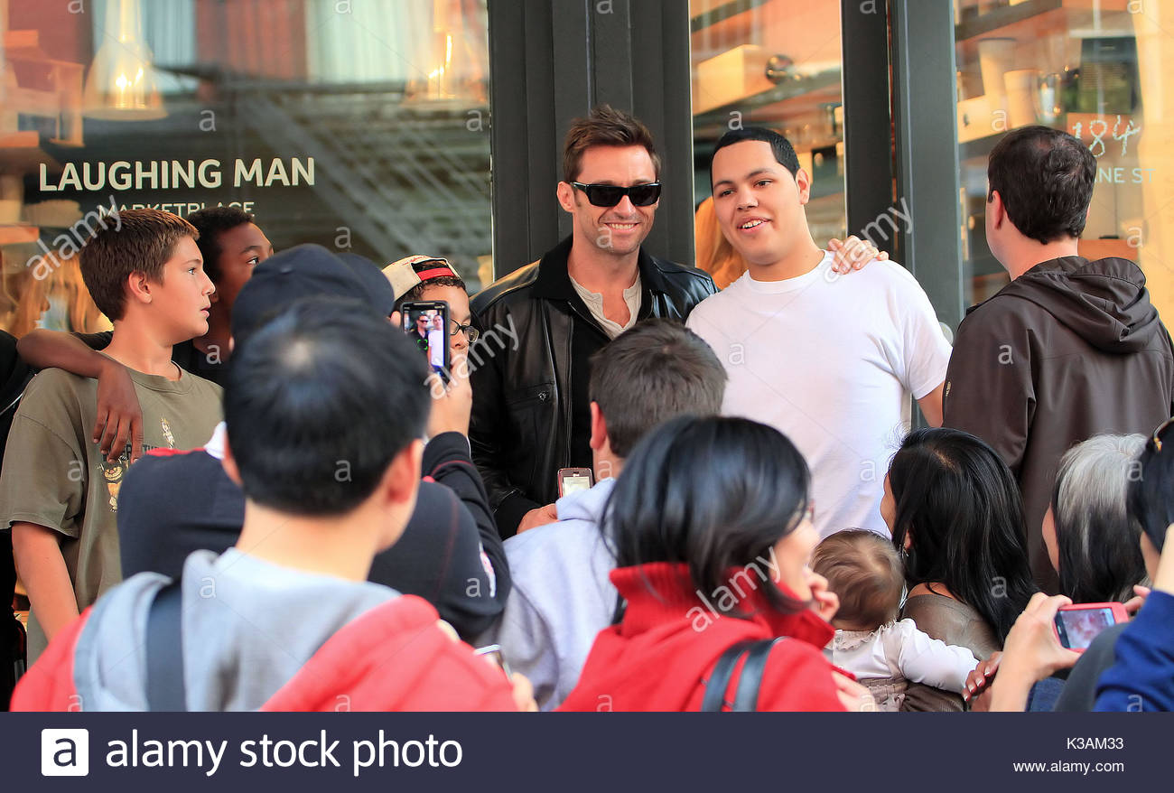 Hugh Jackman Visits The Quaint Tea Shop That He Opened In NYC 43 Year Old Actor Has Up His Own Cafe Called Laughing Man Coffee
