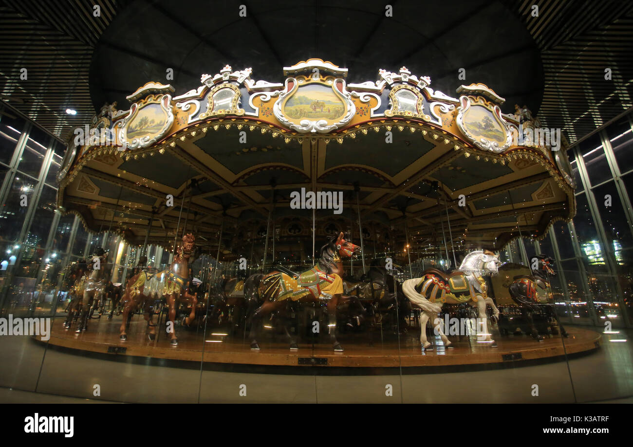 Jane's Carousel in Brooklyn Bridge Park in new york - Stock Image