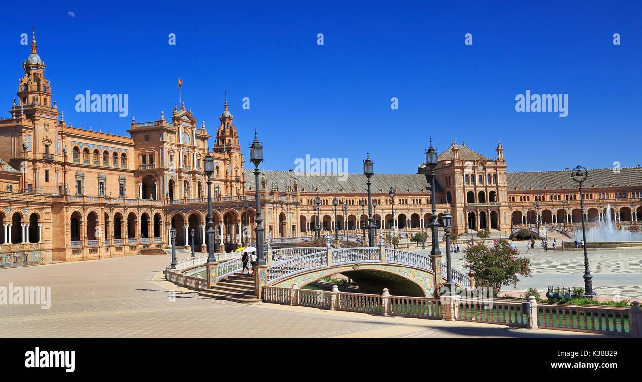 Plaza de Espana or Spain Square in Seville, Andalusia, Spain - Stock Image