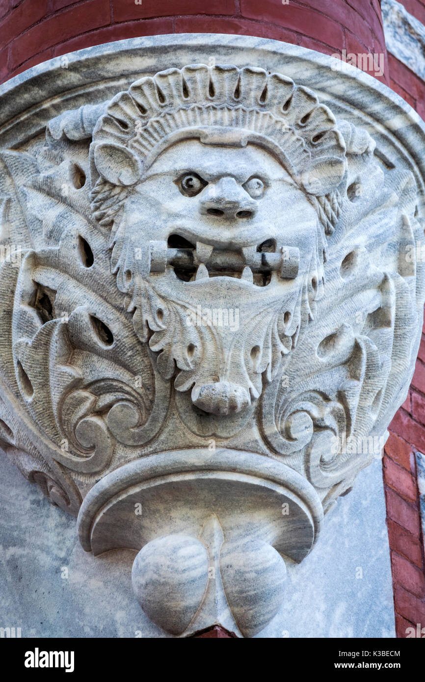 Brunswick Georgia Old Town Historic District Newcastle Street Old City Hall Romanesque Revival architecture gargoyle detail - Stock Image