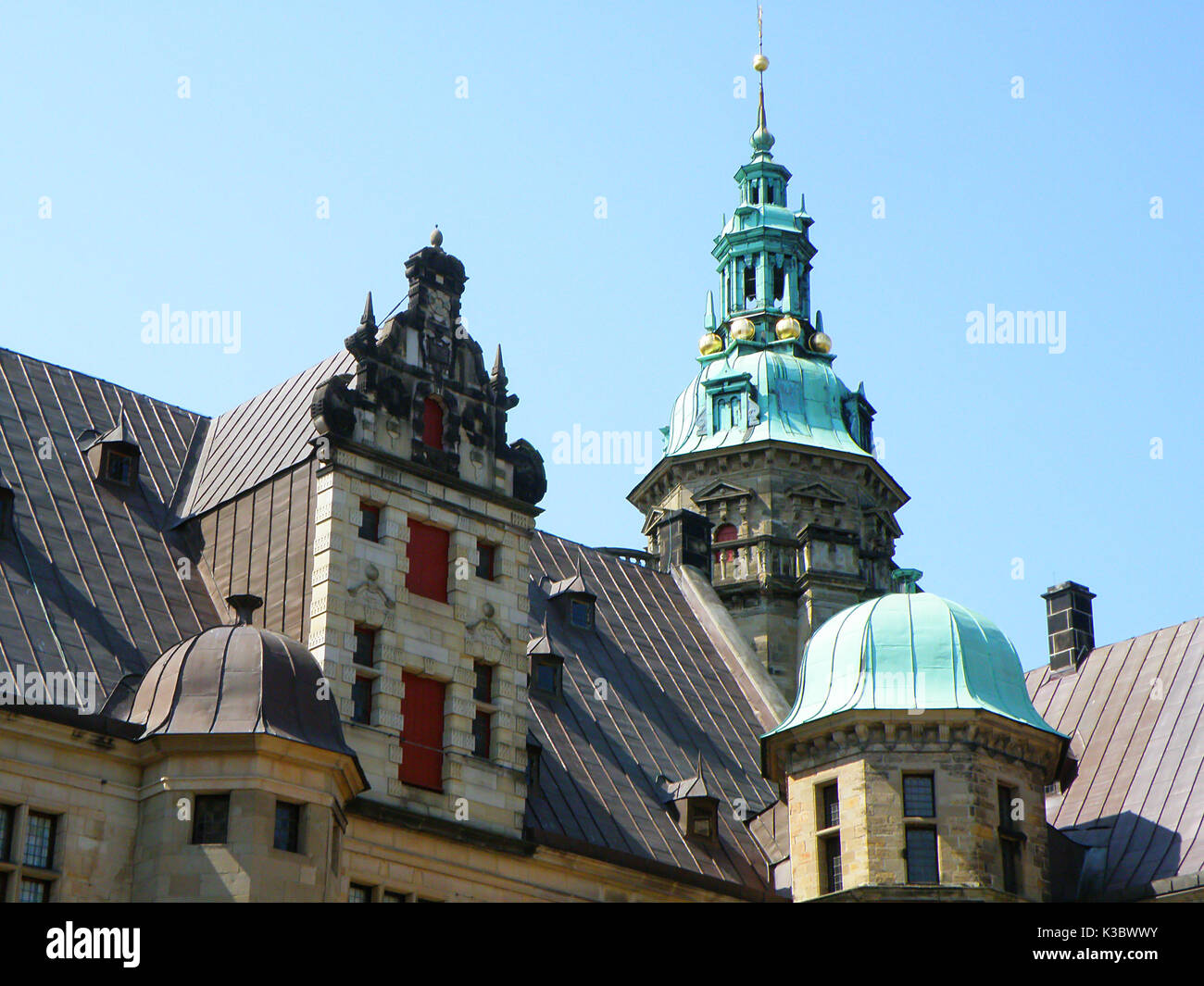 The impressive decorated roof and facade of Kronborg in Helsingor, Denmark - Stock Image
