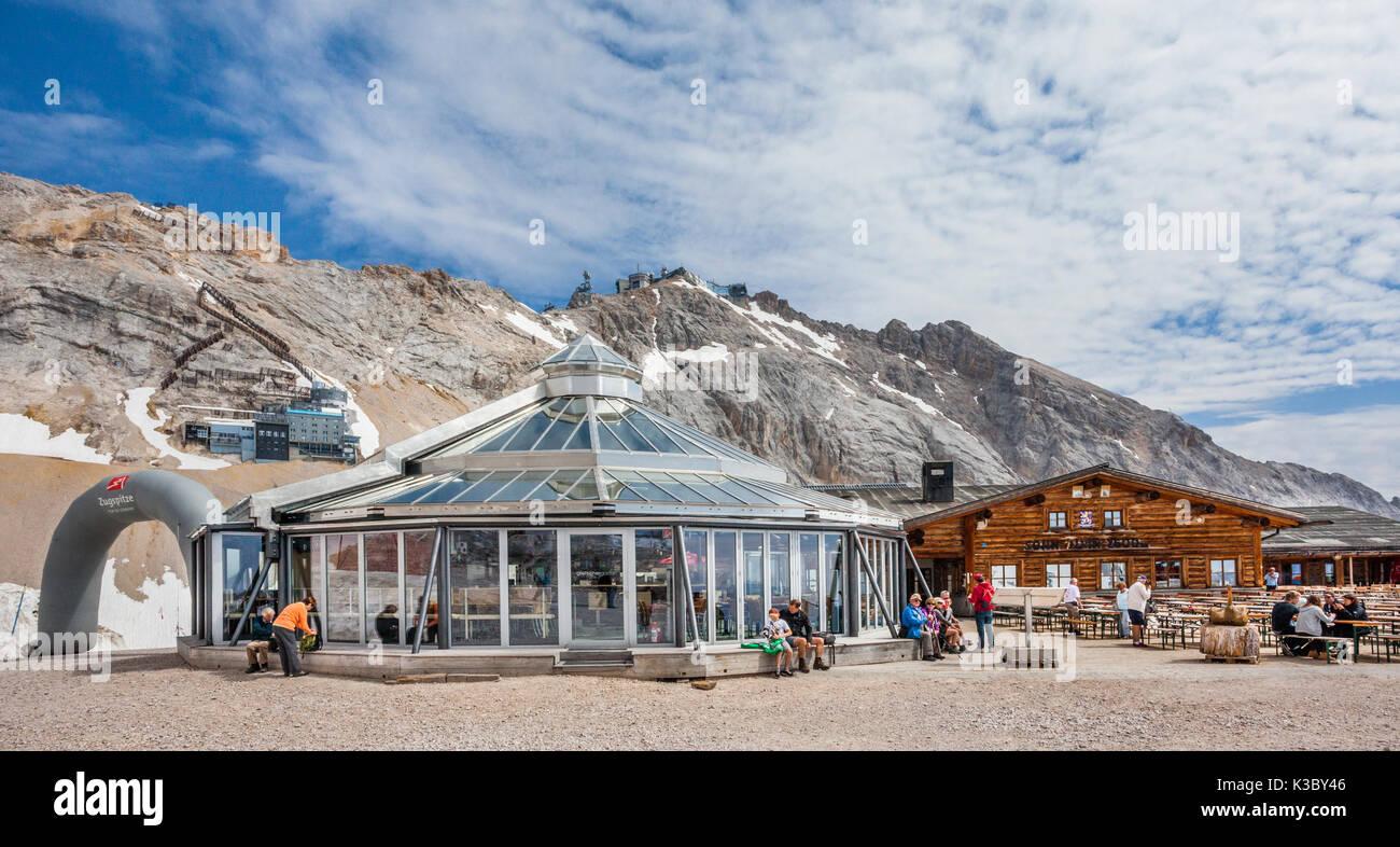 Germany, Bavaria, Bavarian Alps, Wetterstein Mountains, Zugspitze, SonnAlpin Restaurant and Schneefernerhaus on Stock Photo
