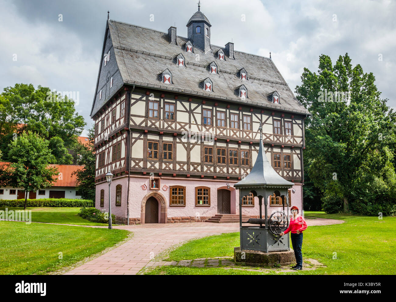 Germany, Lower Saxony, Gieboldehausen, medieval half-timbered patrician 'Haus auf dem Wall' (house on the bank) - Stock Image