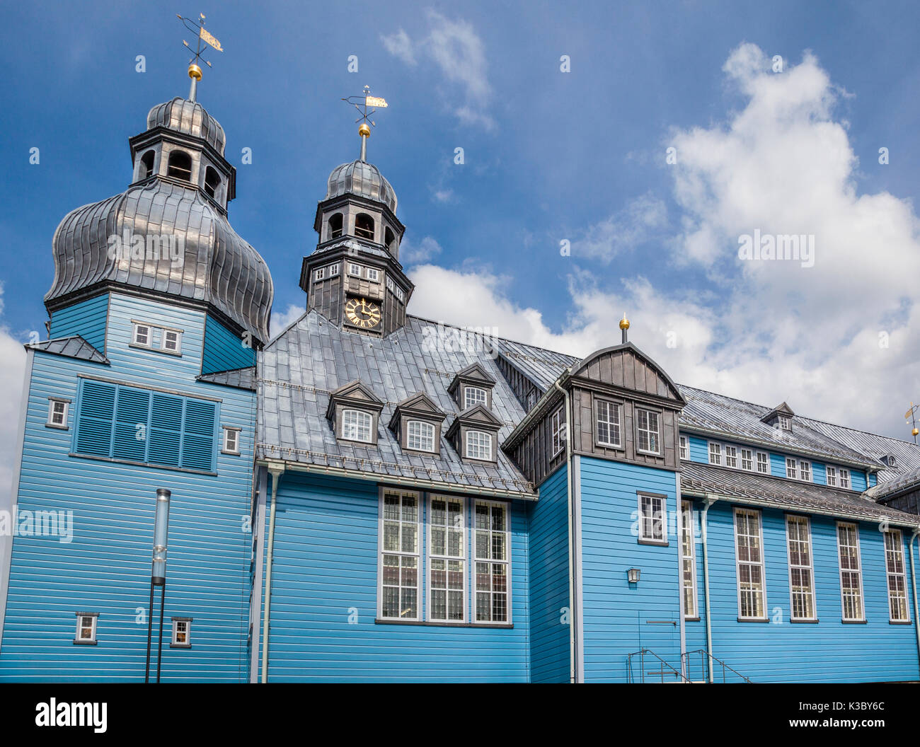 Germany, Lower Saxony, Clausthal-Zellerfeld, view of the Market Church, Marktkirche zum Heiligen Geist, the largest wooden church in Germany - Stock Image