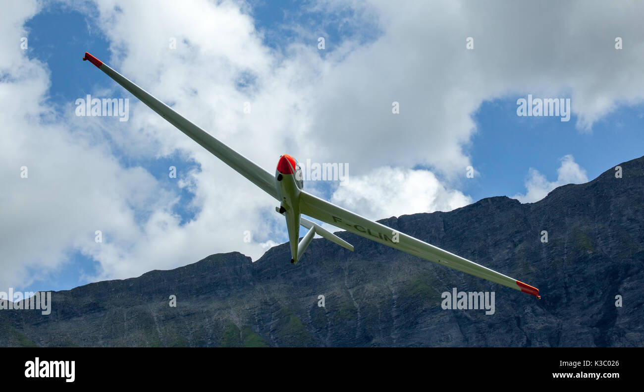 50th Anniverasry of Megeve's Altiport,August 2017 : Schleicher ASK 21 glider - Stock Image