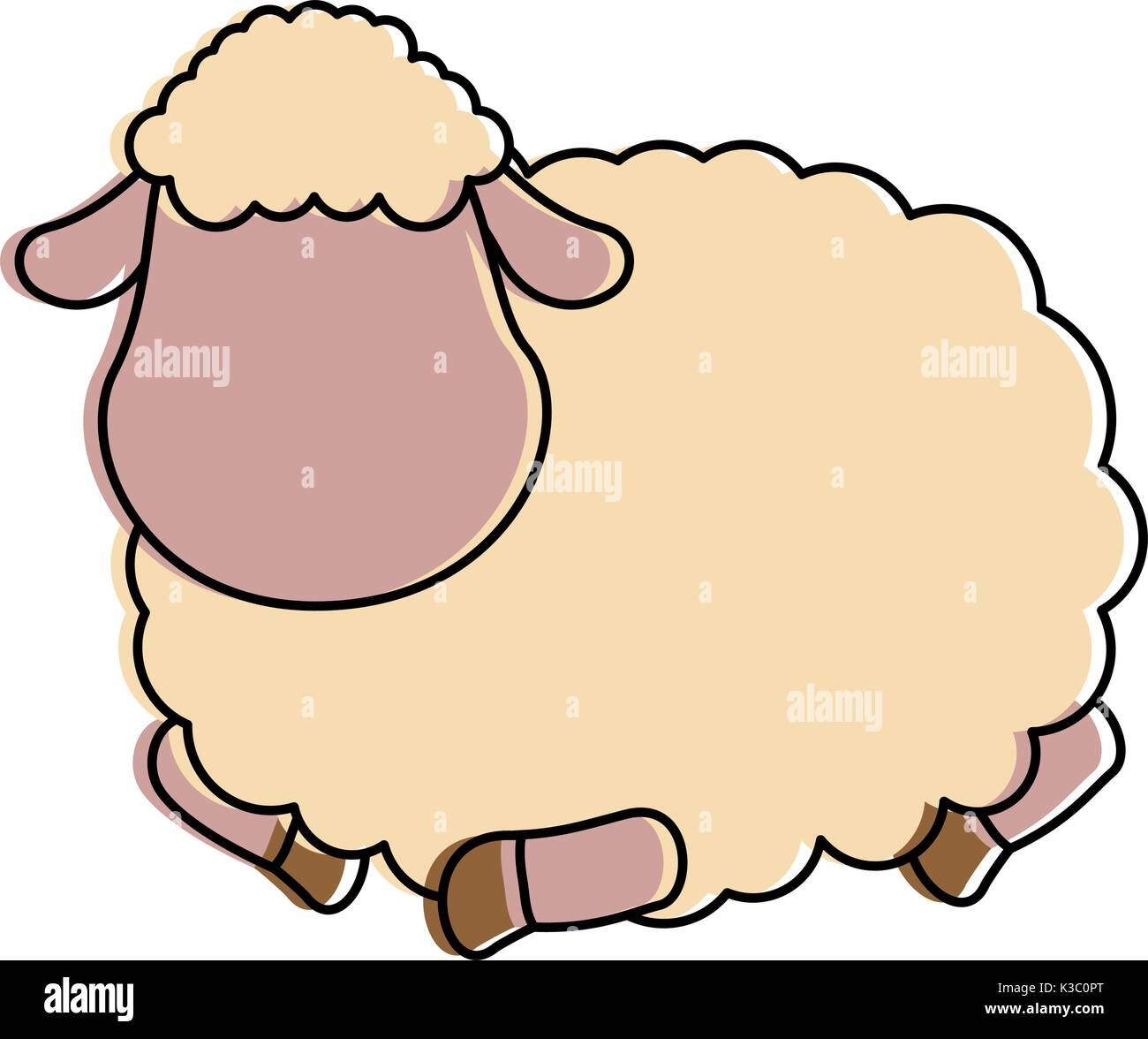 cute sheep character icon - Stock Vector