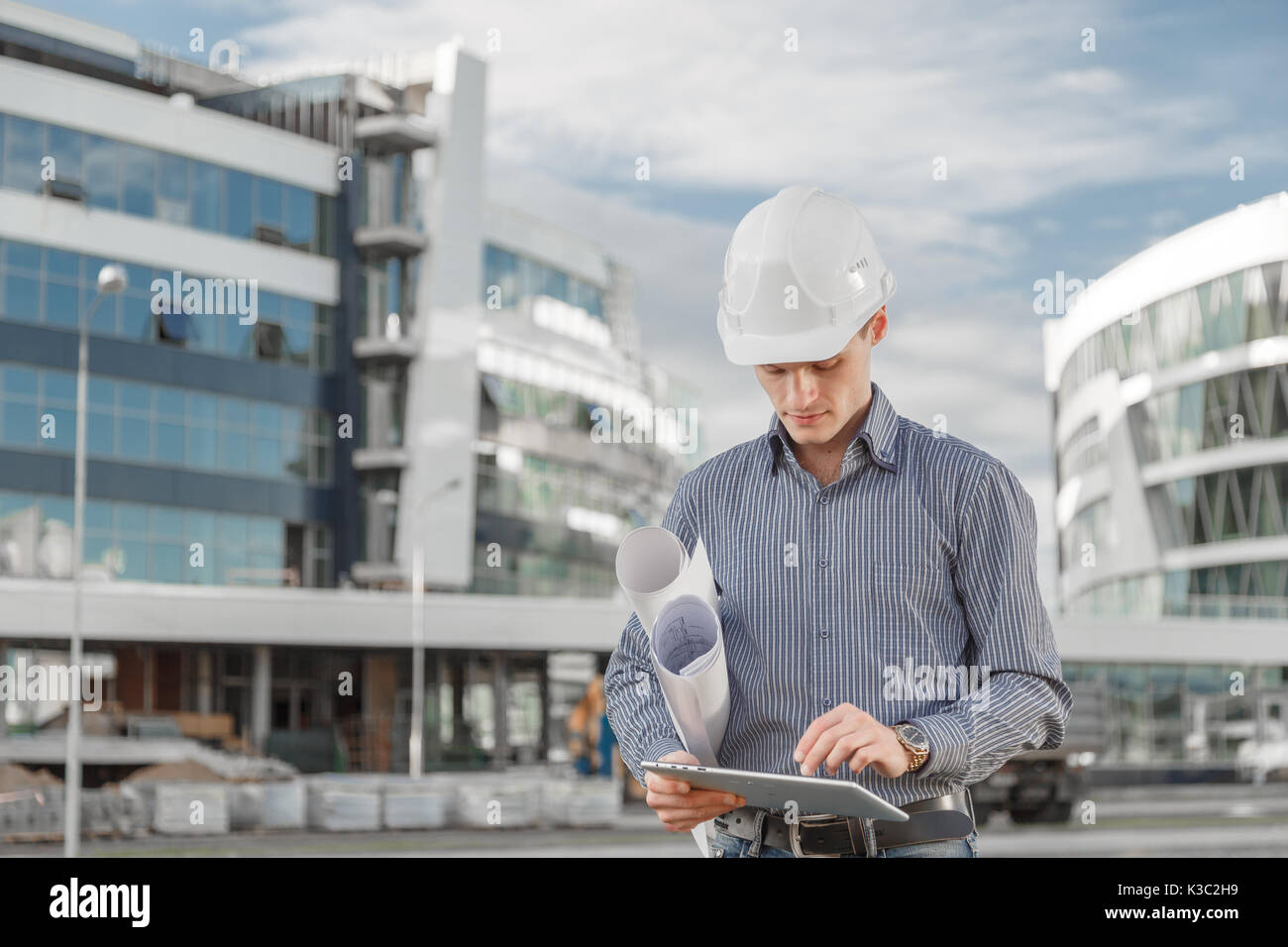 The concept of using new technologies as an engineer in the construction industry. - Stock Image