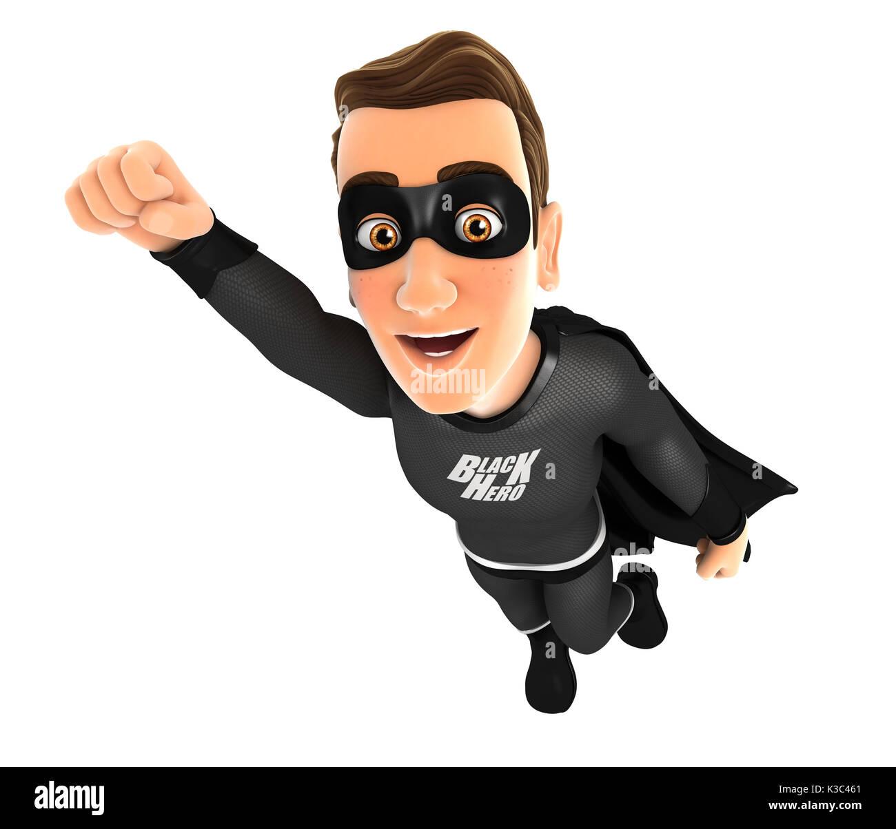 3d black hero flying, illustration with isolated white background - Stock Image