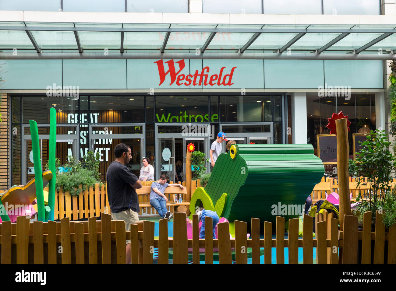 Westfield in Stratford, London. Play area for young children located outside the mall near the great eastern market - Stock Image