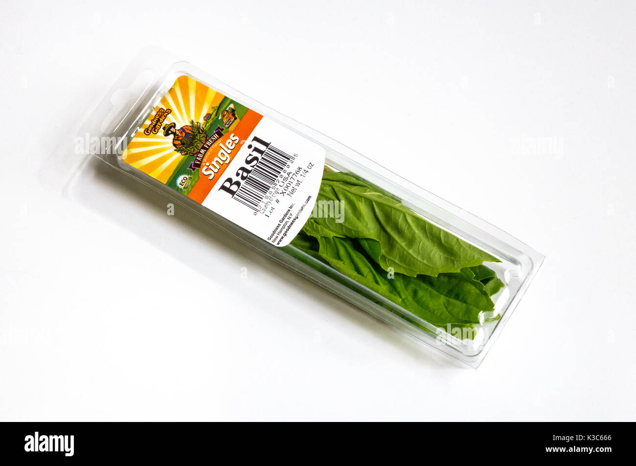 A single portion of basil from Goodness Gardens - Stock Image