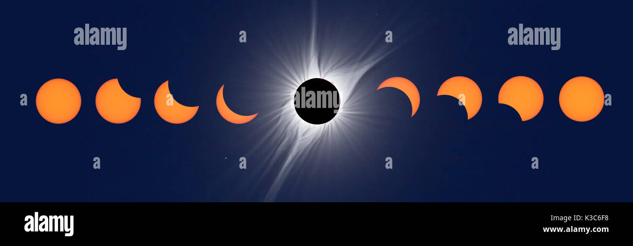 North American Total Solar Eclipse 2017. Multiple Exposure Composite - Stock Image
