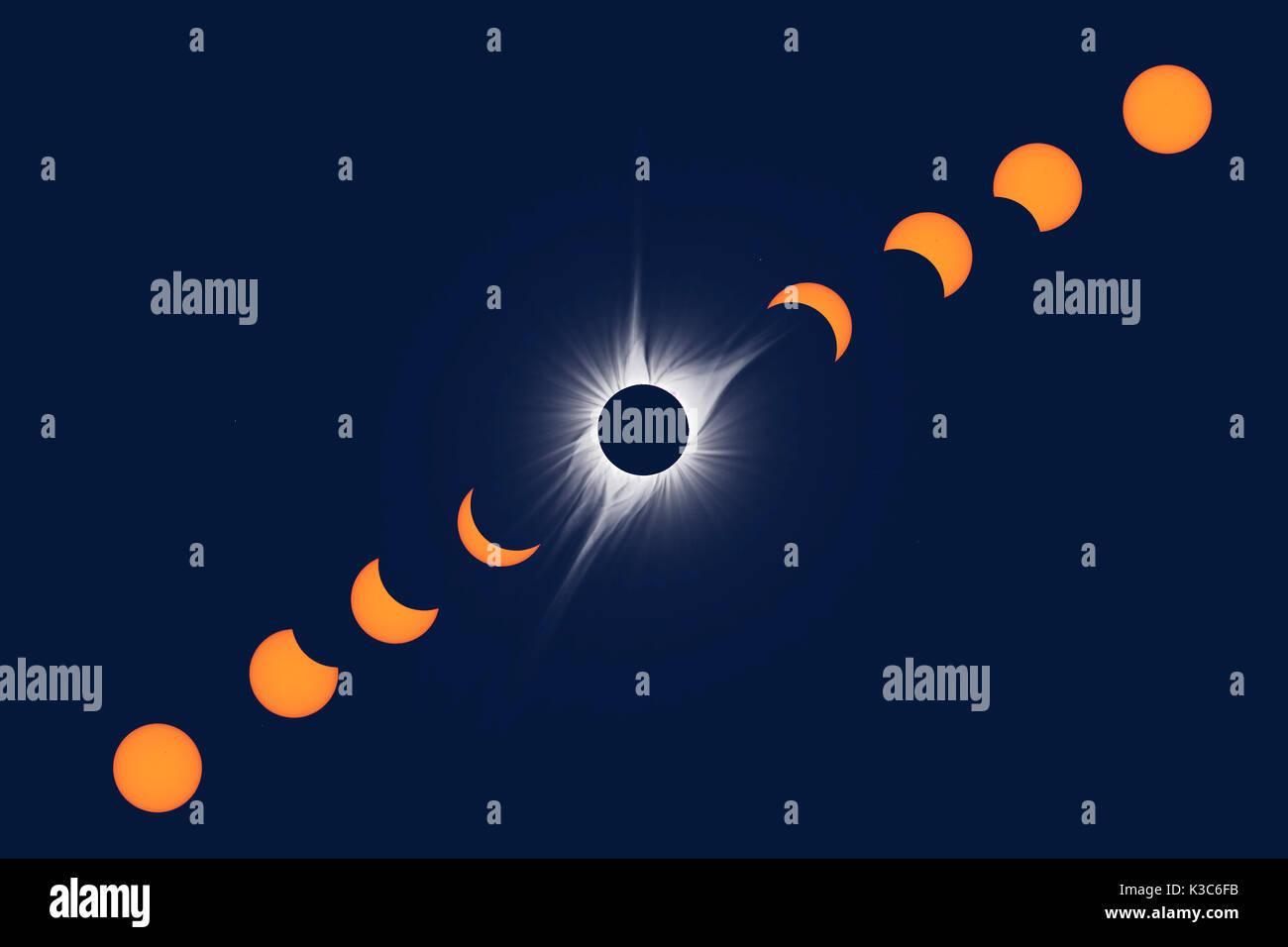 North American Total Solar Eclipse 2017. Multiple Exposure Composite - Stock Image