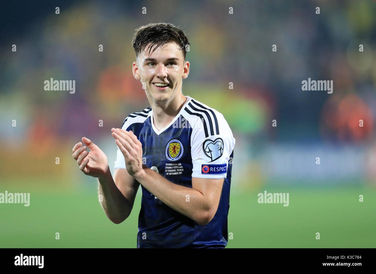 Scotland S Kieran Tierney During The 2018 Fifa World Cup Qualifying Group F Match At Lff Stadium Vilnius