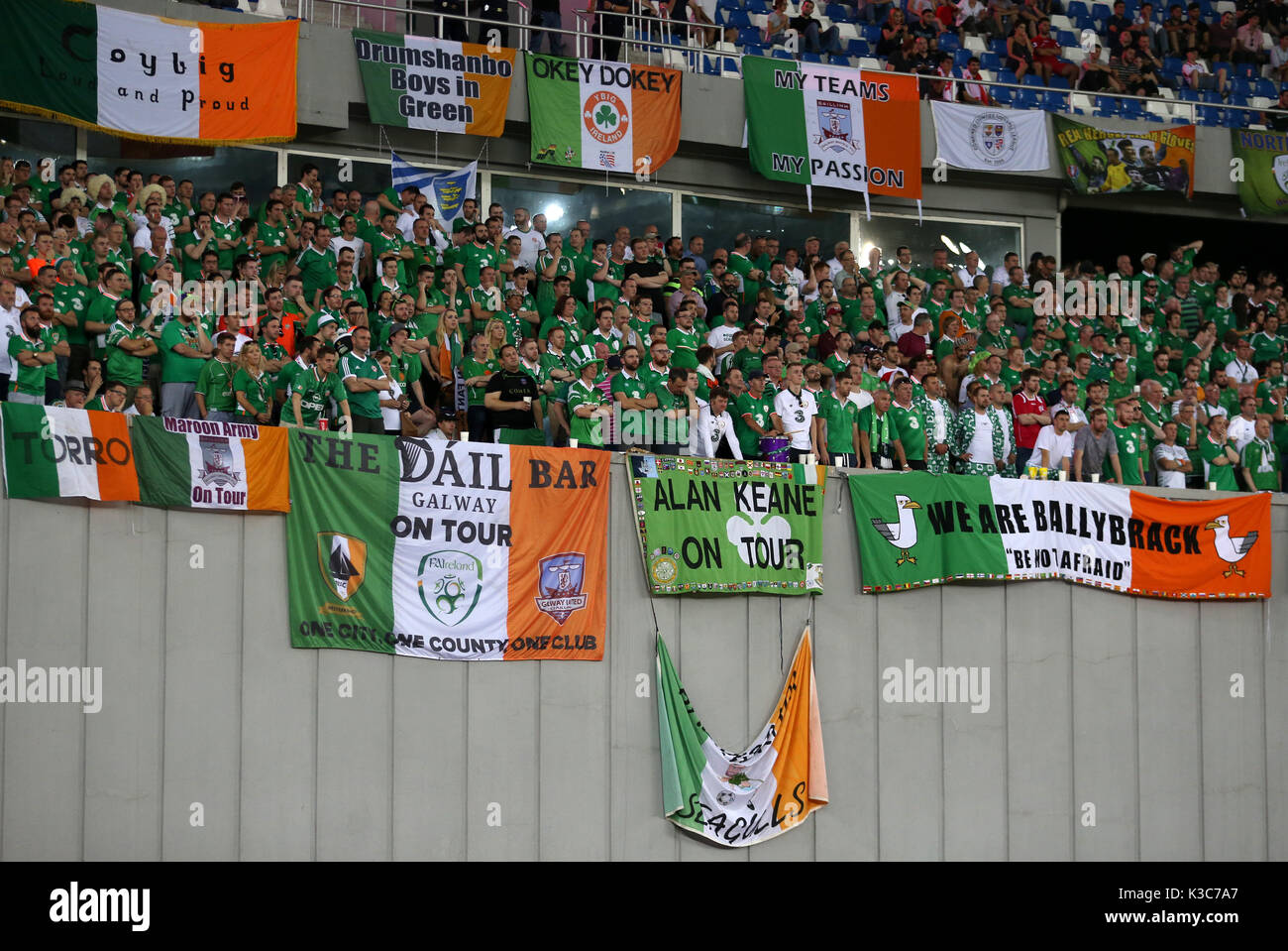 Republic of Ireland fans in the stands show their support during the