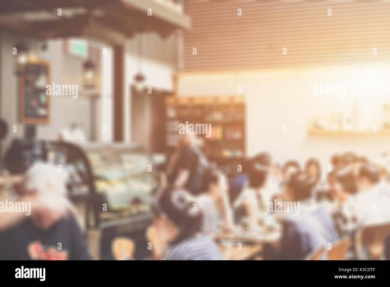 Blurred background made with Vintage Tones,Coffee shop blur background - Stock Image