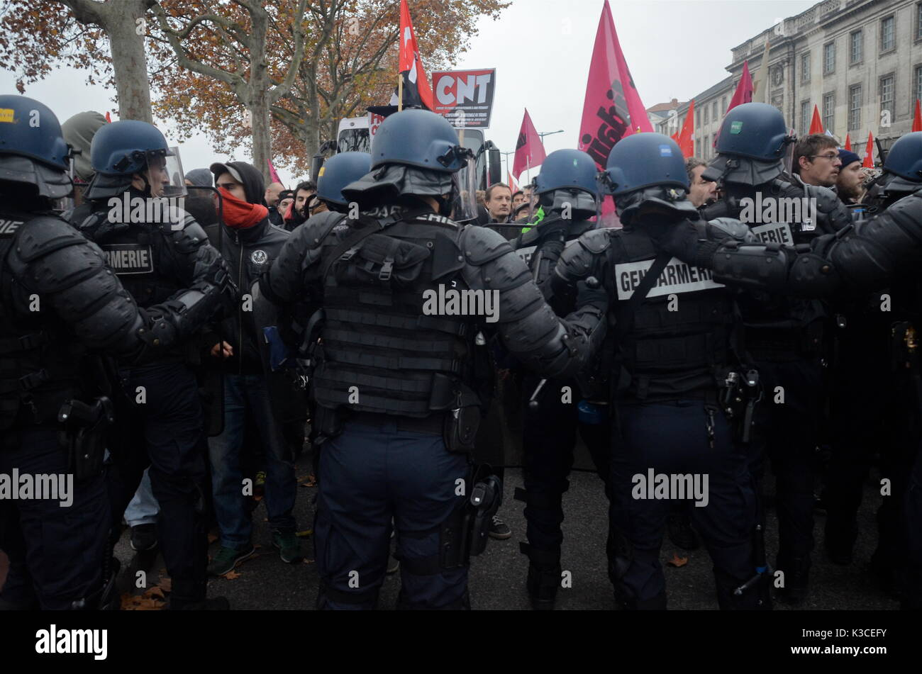 Far left and Antifa activists take the street to protest National Front Congress, Lyon, France Stock Photo