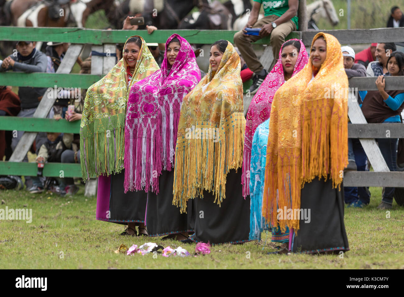 May 27, 2017 Sangolqui, Ecuador: indigenous female dancers performing at the opening of a rural rodeo - Stock Image