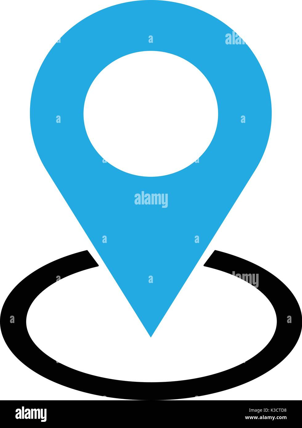 Location blue check in icon vector  Pin sign Isolated on