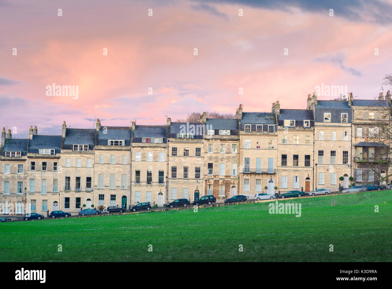 Bath city houses, view of a row of Georgian terraced houses known as Marlborough Buildings facing Victoria Park in the city of Bath, Somerset, UK Stock Photo