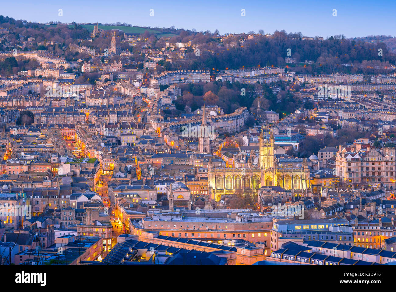 Bath city UK, aerial view of the city of Bath at twilight on a winter evening, Somerset, England, UK - Stock Image