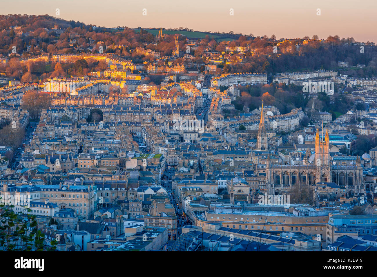 Bath UK city, aerial view of the city of Bath catching the last light of a winter sunset, Somerset, England, UK - Stock Image