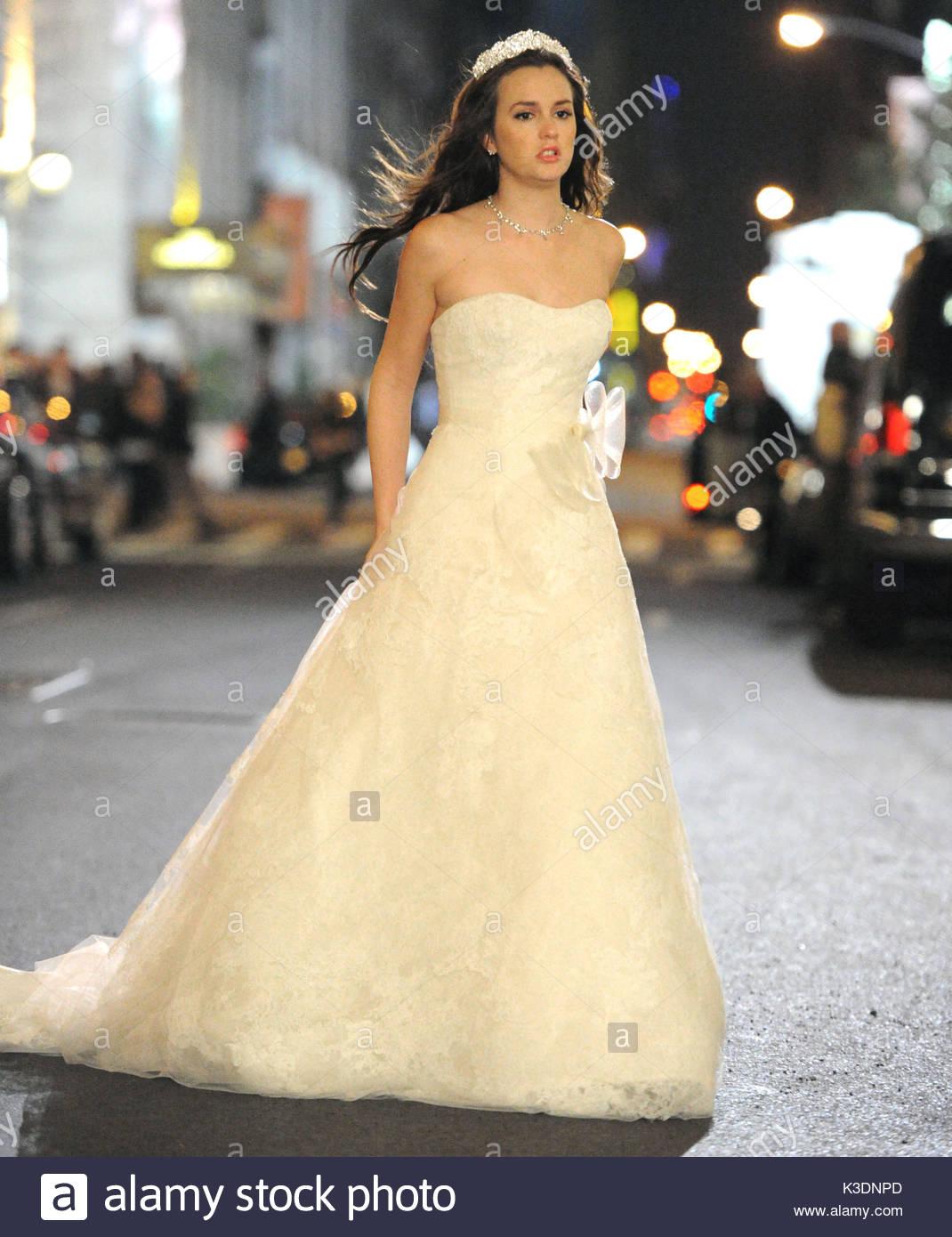 Leighton Meester. Leighton Meester wears a wedding dress while Stock ...