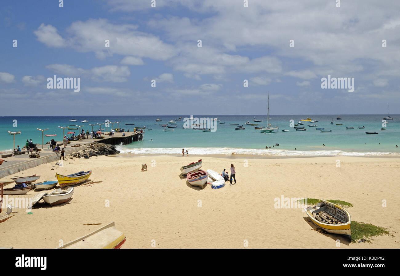 Santa Maria Beach, sea, boots, pier, tourist, island Sal, Cape Verde islands, Stock Photo