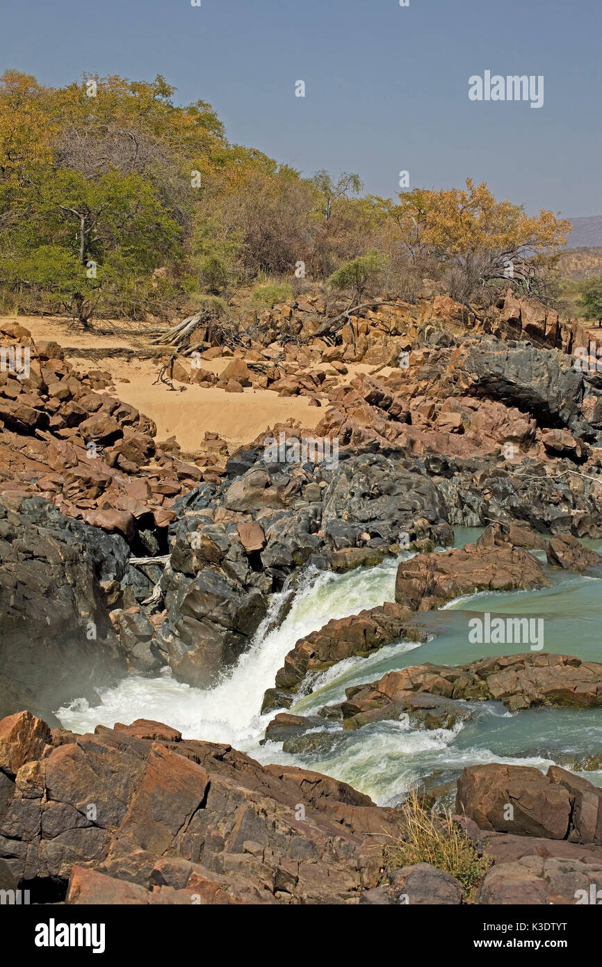 Africa, southern Africa, South-West Africa, Namibia, Kuneneregion, Kaokoveld, Kaokoland, the east of Swartbooisdrift, Kunene river, waterfall, border area to Angola, - Stock Image