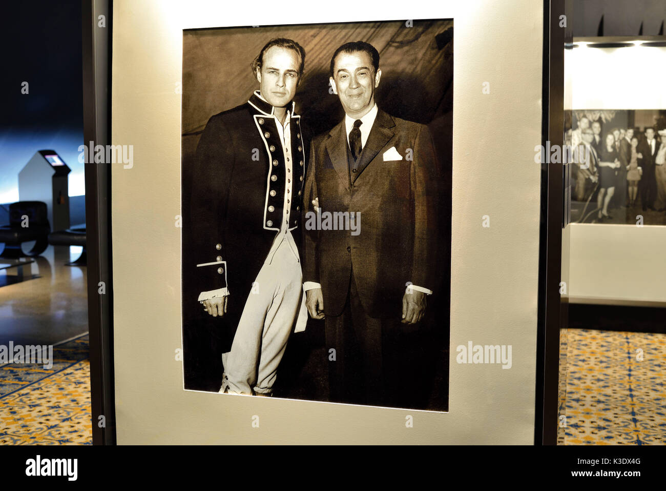 Brazil, Brazil, historical black-and-white photo of president Juscelino Kubitschek with Marlon Brando in the exhibit 'Kubitschek and personalities of 20. Cent.' in the Memorial JK, - Stock Image