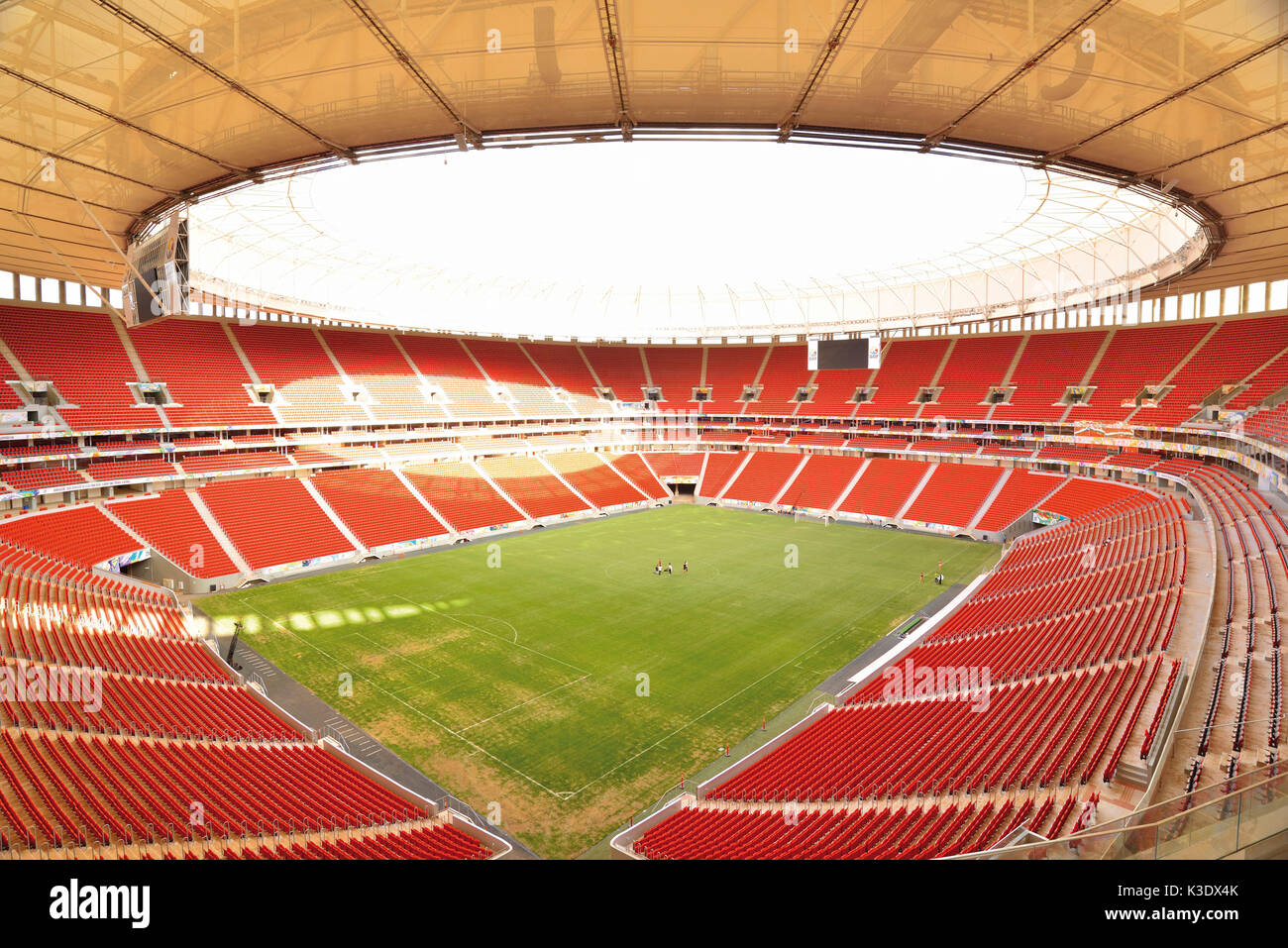 Brazil, Brazil, interior view from the world championship stadium of Estadio Nacional de Brazil, former stadium of Mané Garrincha with a capacity of 70.064 seats, - Stock Image