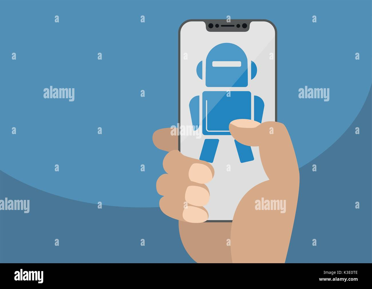 Hand holding modern bezel free smartphone. Robot icon displayed on touchscreen as concept for automation or digitalization Stock Vector