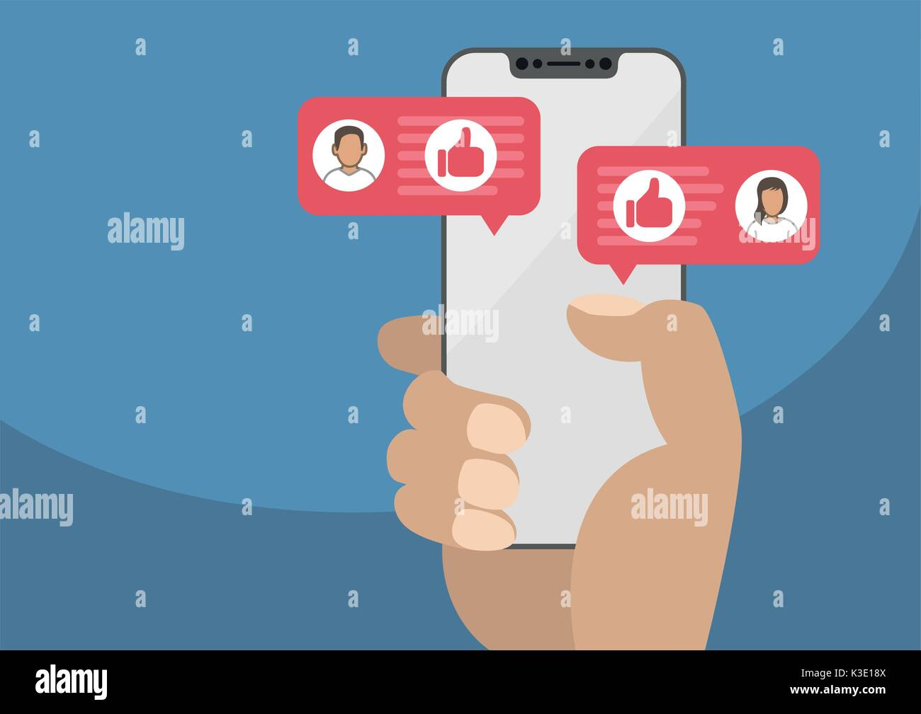 Hand holding modern bezel free smartphone as concept for social network. Thumbs up icon displayed within conversation Stock Vector