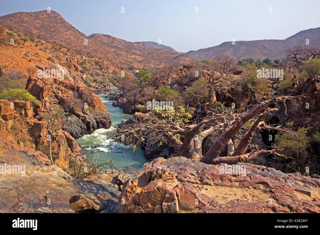Africa, Namibia, Kunene region, Kaokoveld, Kaokoland, Kunene river, rapids, border area, Angola, - Stock Image