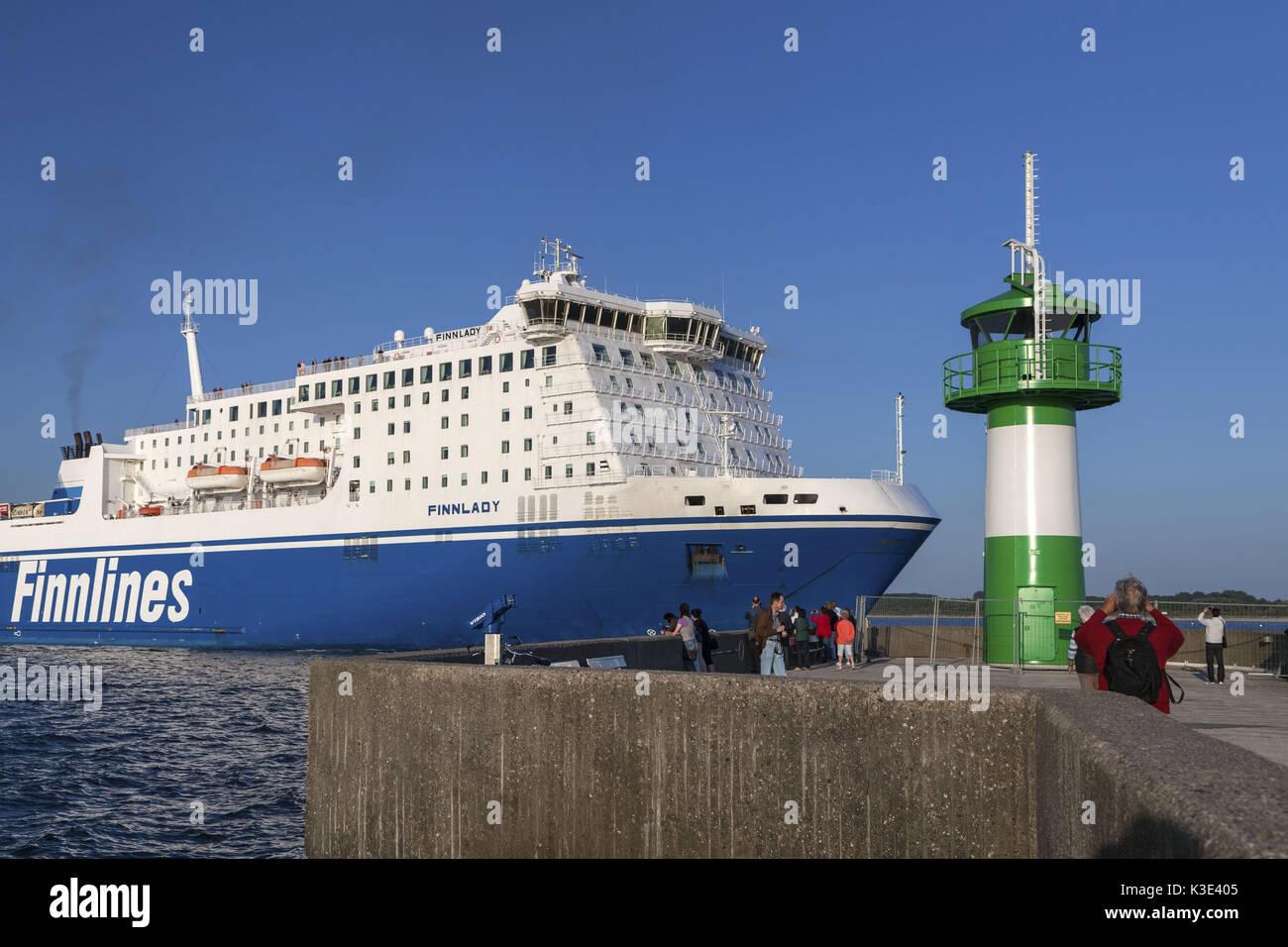Ferry Finnlines in the lighthouse north mole, Travemünde, Hanseatic town Lübeck, Schleswig - Holstein, Germany, - Stock Image