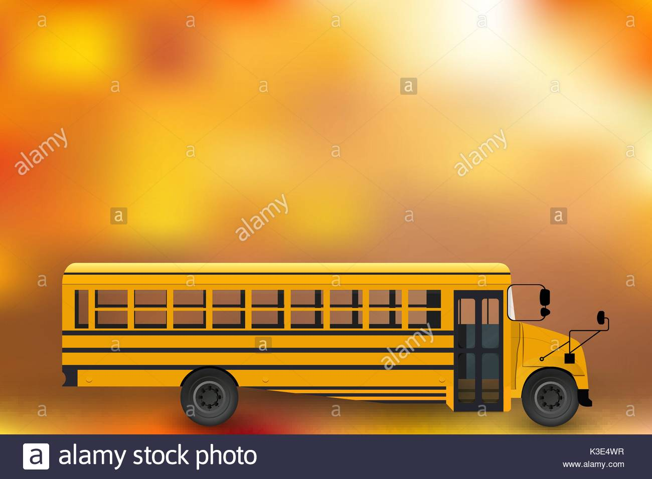 school bus vector drawing with background composition - Stock Image