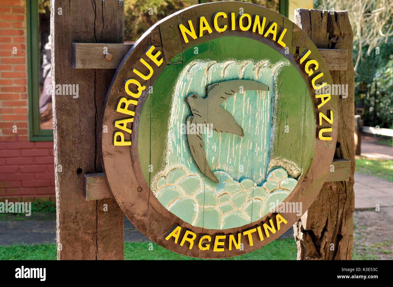 Argentina, Iguazu national park, entrance sign of the Parque Nacional Iguazu Stock Photo