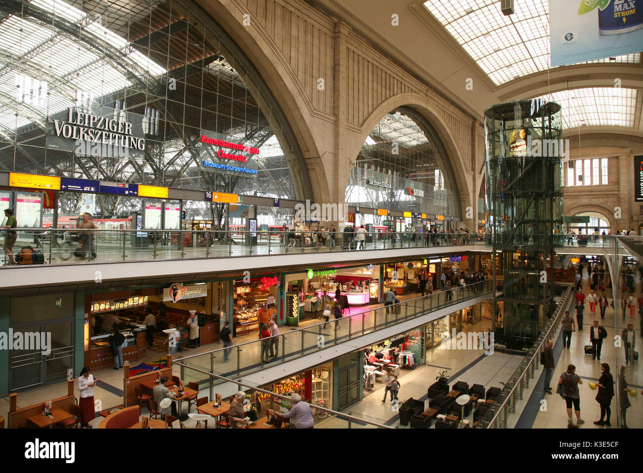 Germany, Saxony, Leipzig, central station promenades, inside - Stock Image