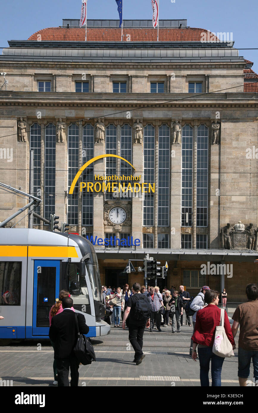 Germany, Saxony, Leipzig, central station, passer-by, outside, - Stock Image