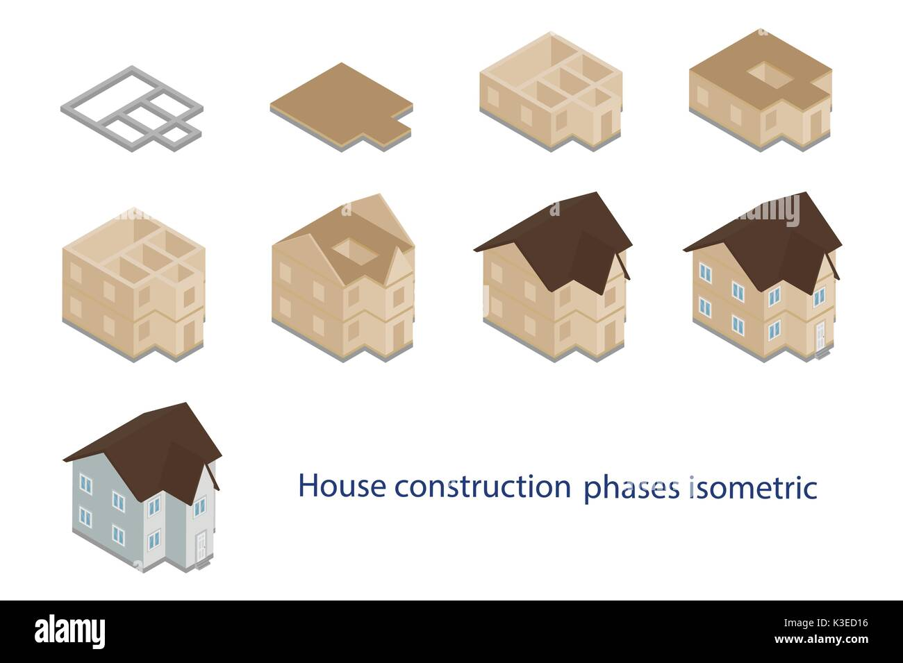Vector illustration house, building construction phases isometric icons set isolated on white background Stock Vector