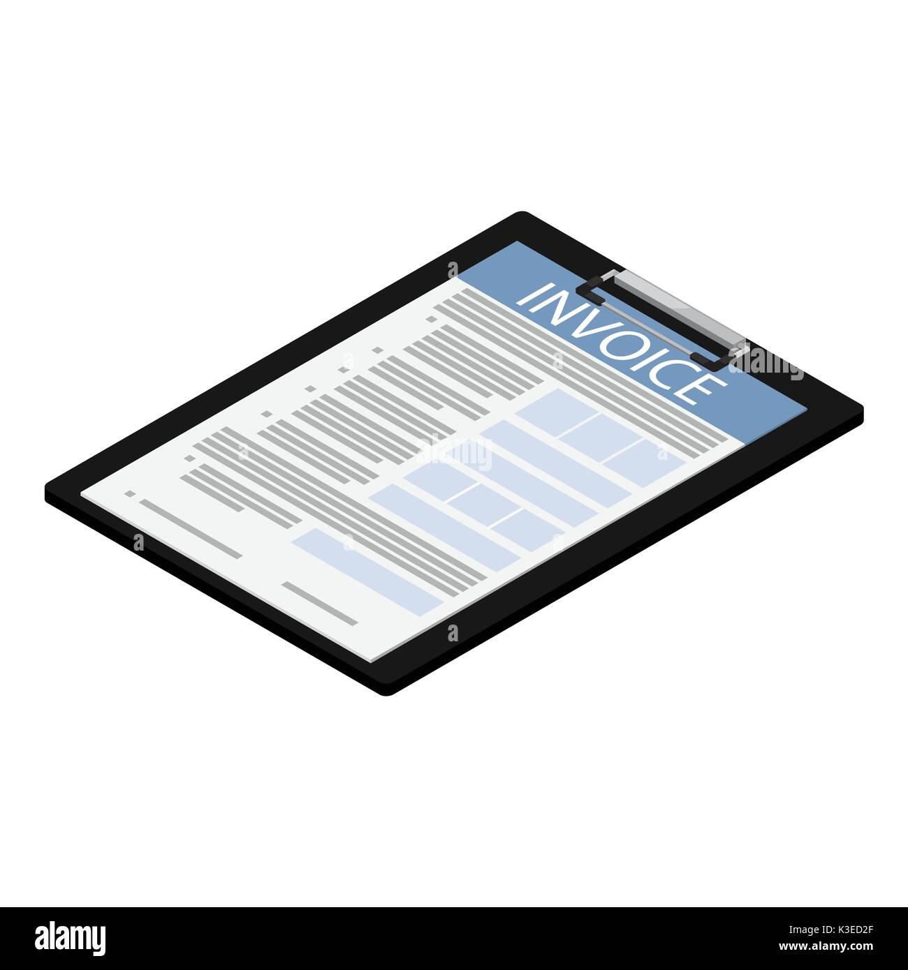 Vector Illustration Isometric Invoice Icon On Black