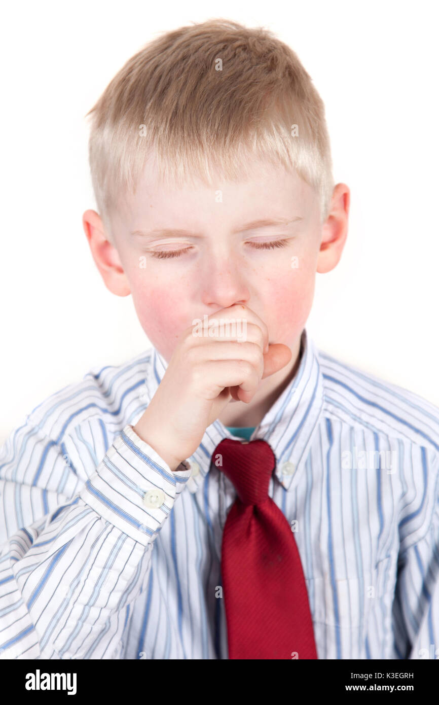 Young child coughing or yawning - Stock Image
