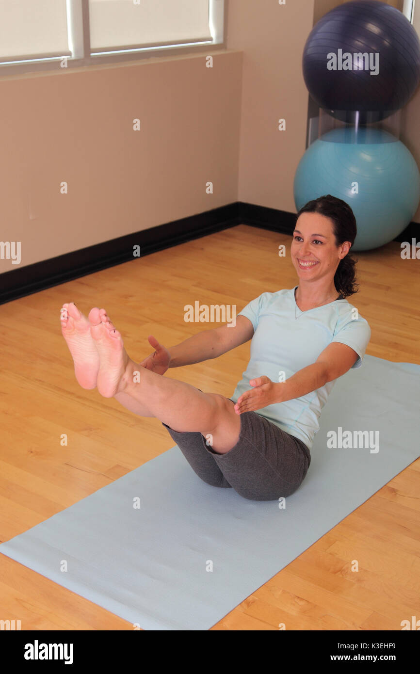 Yoga Boat Pose Stock Photo Alamy
