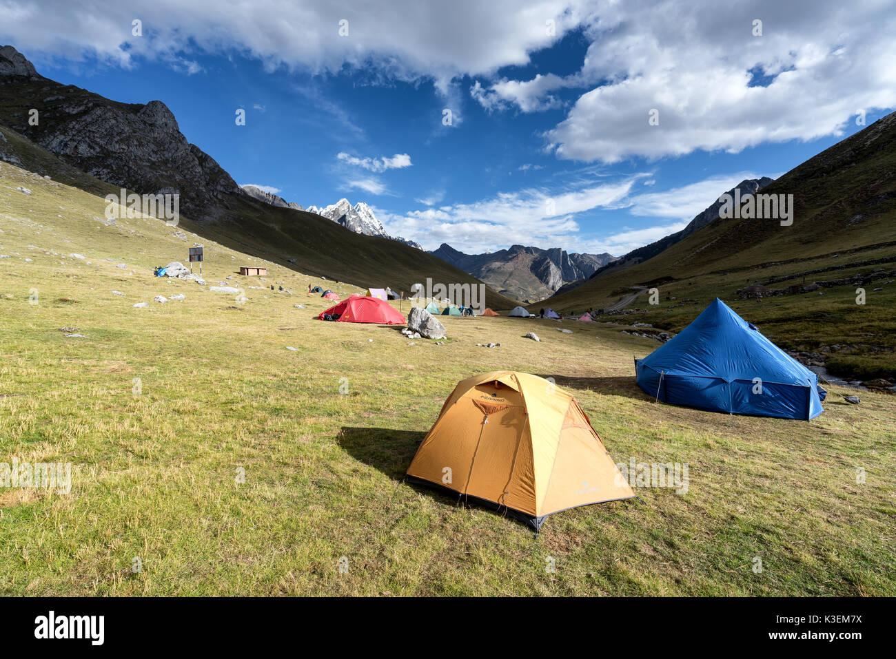 Camping on Huayhuash Trek, Peru - Stock Image