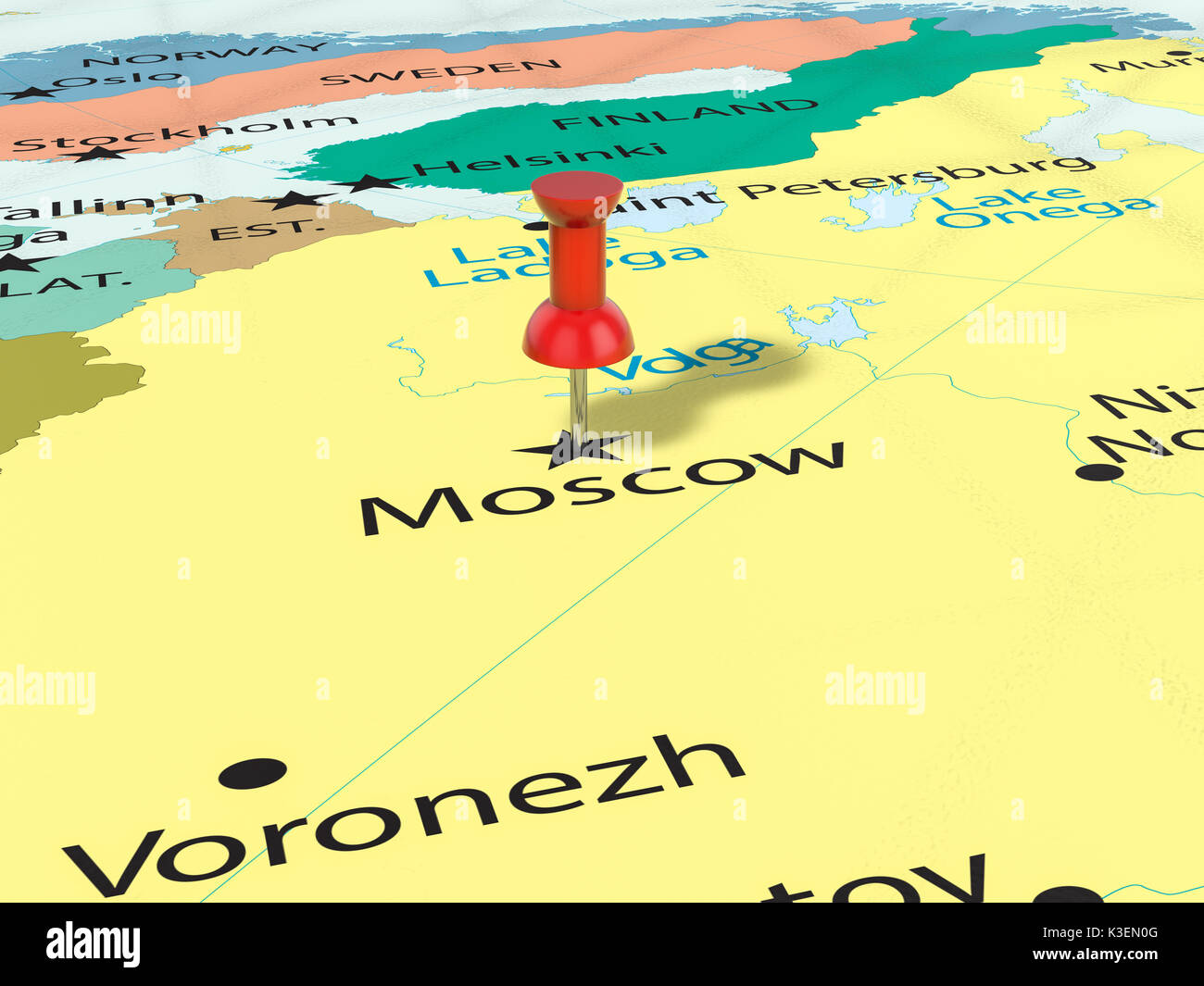 Pushpin On Moscow Map Background 3d Illustration Stock Photo