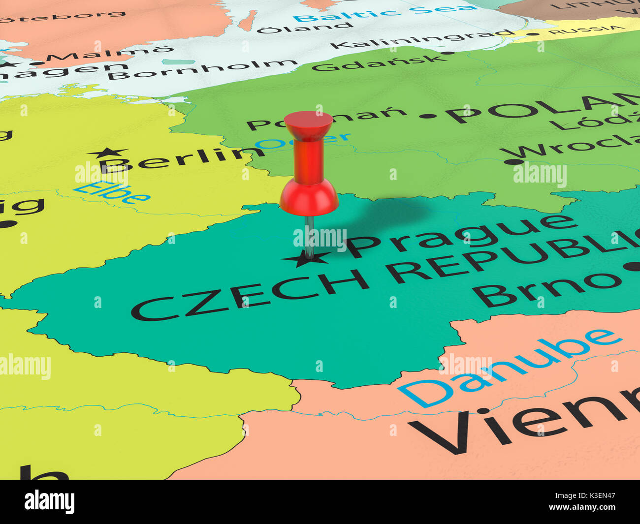 Pushpin On Prague Map Background 3d Illustration Stock Photo
