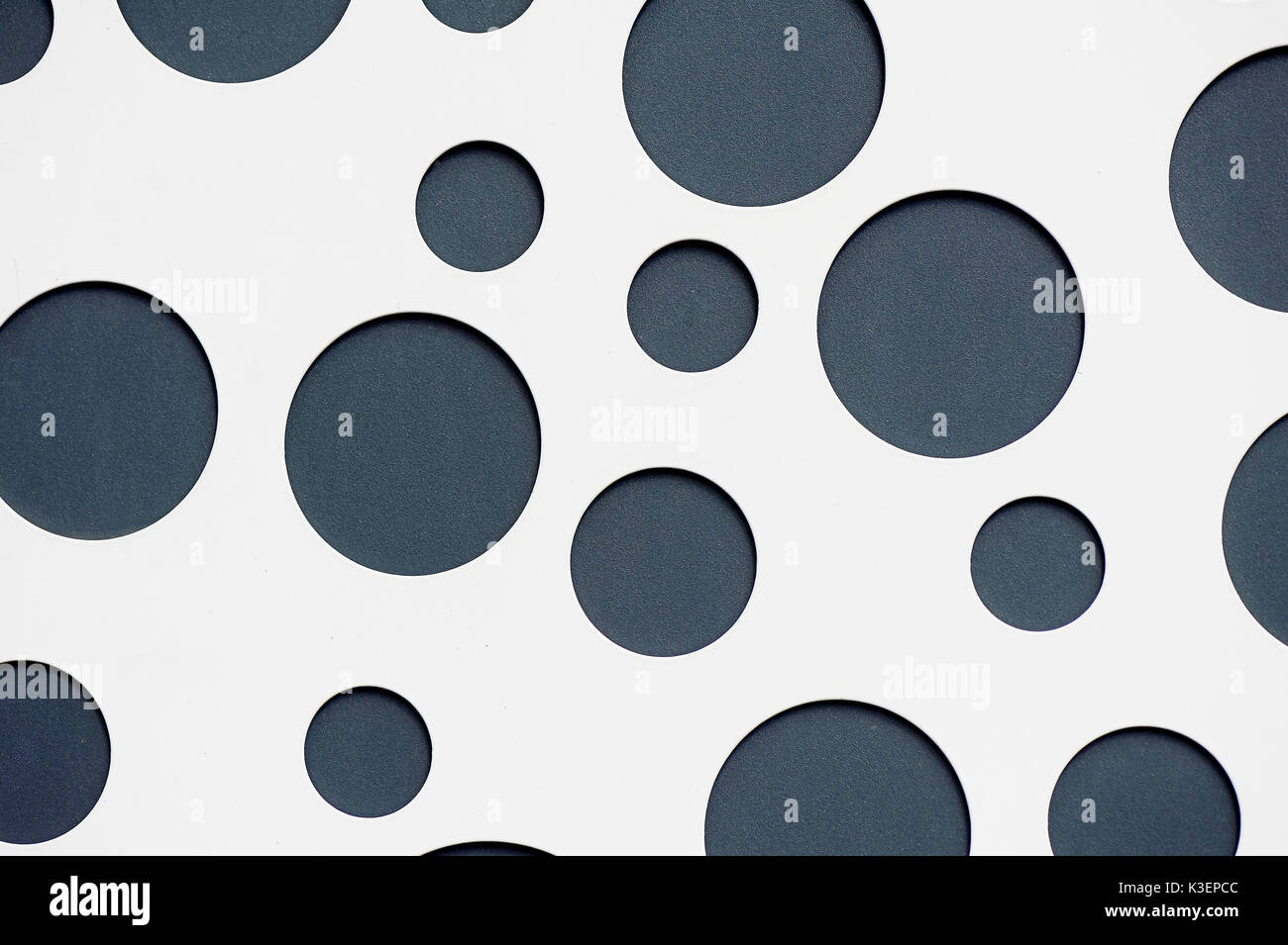 texture gray circles on a white background made of metal. Design,neutral colors - Stock Image