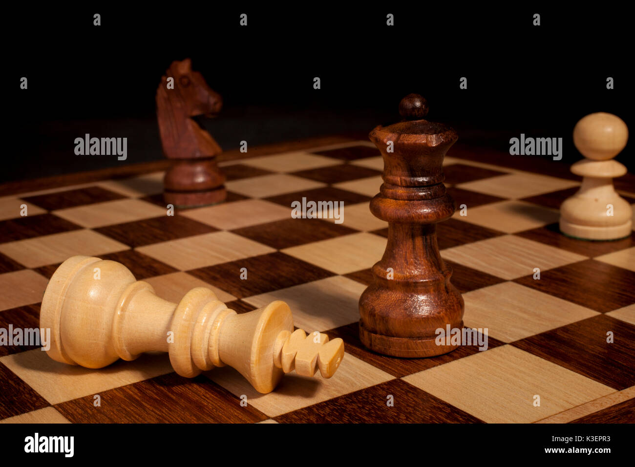checkmate on chessboard - Stock Image