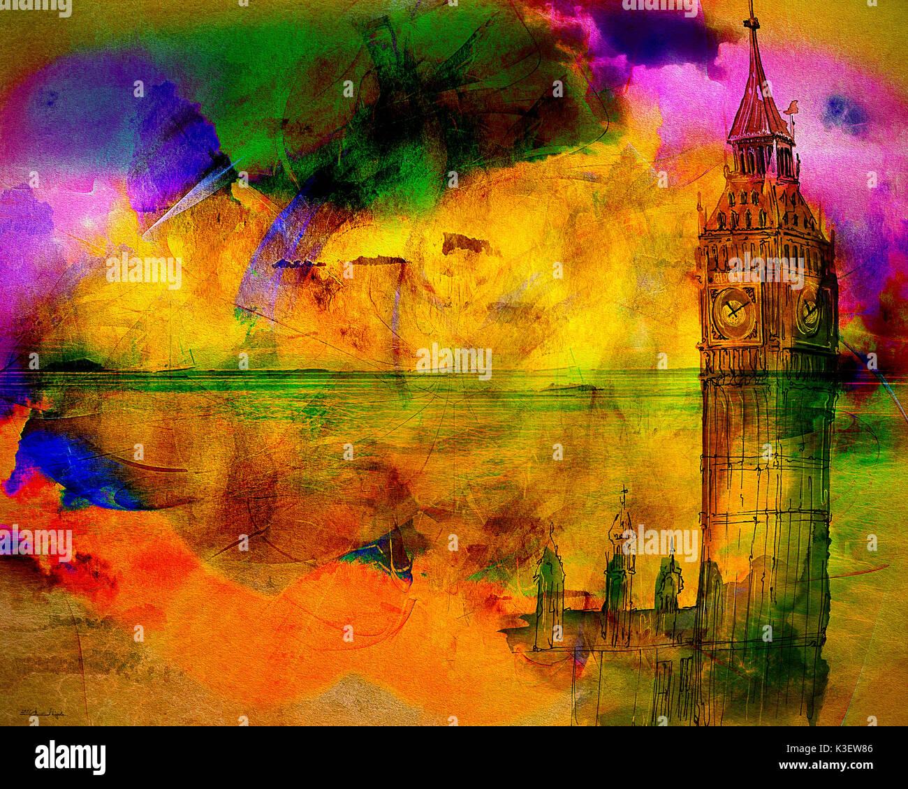 DIGITAL ART: The Westminster Hour - Stock Image
