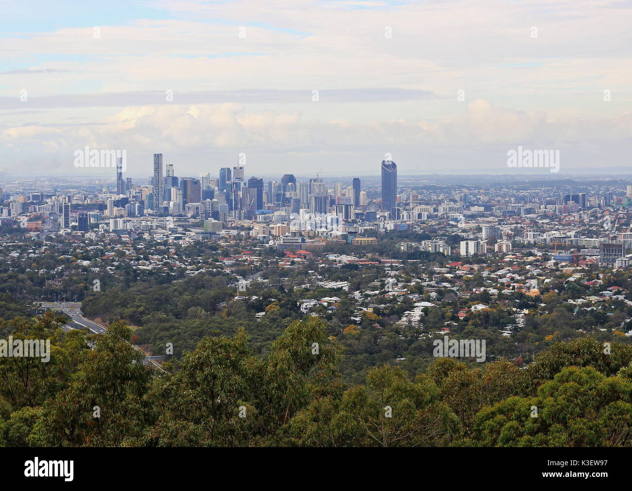 View of Brisbane CBD from Mount Coot-tha Lookout point, Brisbane, Queensland, Australia - Stock Image