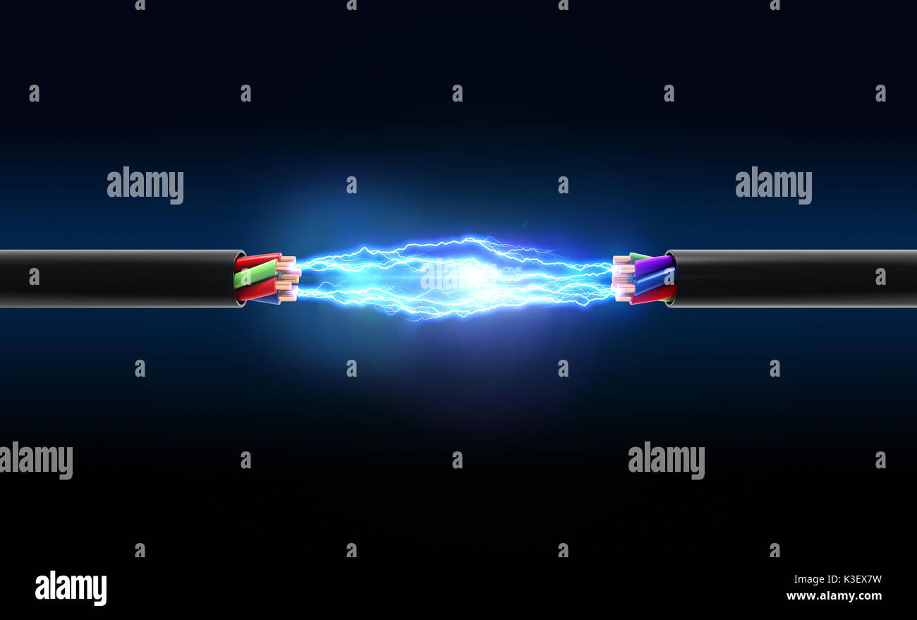 Electrical spark between two wires. 3D illustration - Stock Image